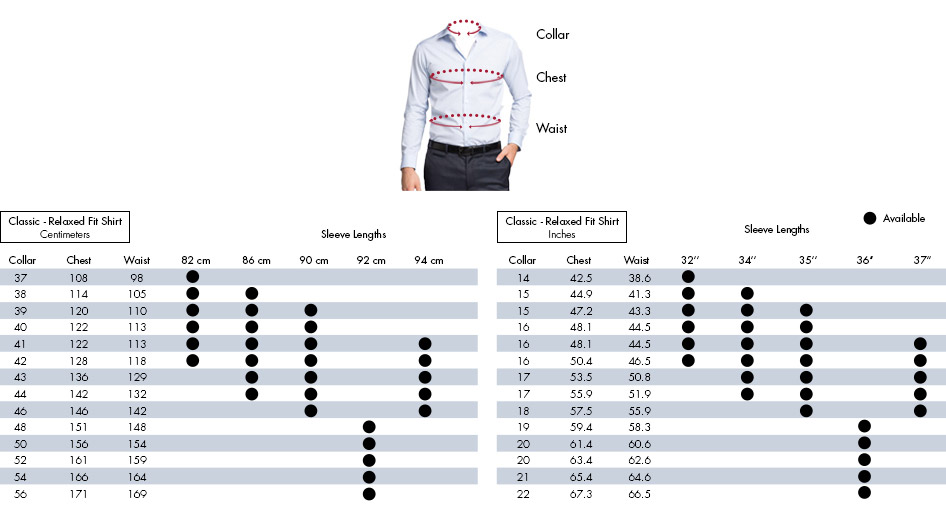 Mens Shirt Size Guide Van Heusen Mens Shirts Size Chart