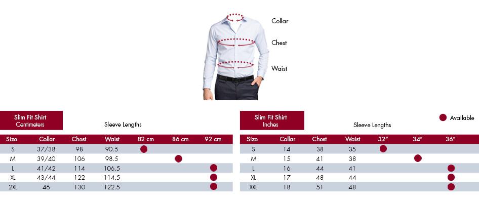 Mens Shirt Size Guide | Van Heusen Mens Shirts Size Chart
