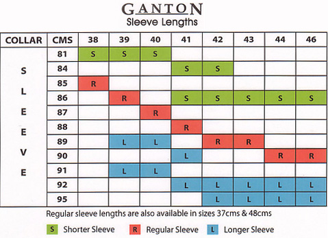 5e8be826f8 ... Van Heusen Size Chart. Shirt Sleeve. Ganton Sleeve Lengths