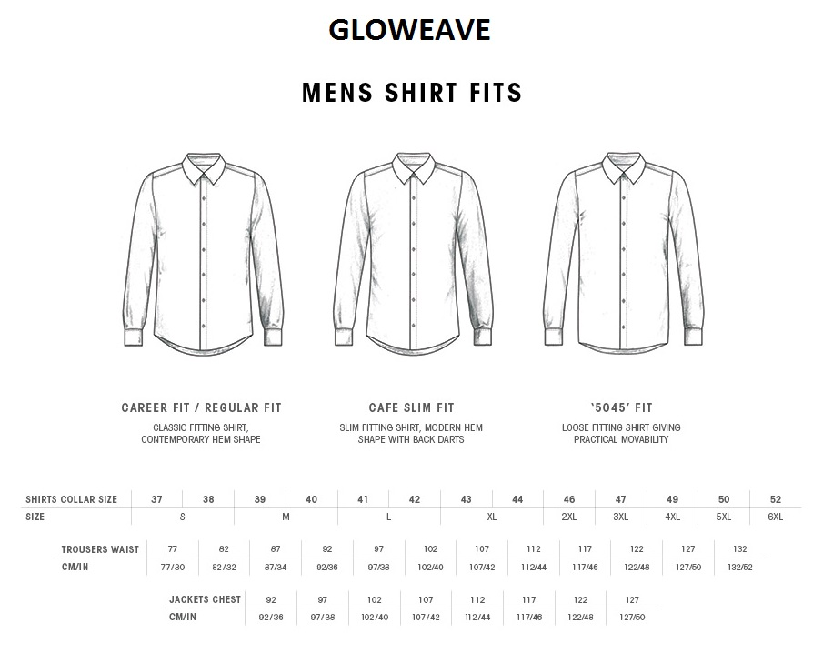 Mens Shirt Size Guide Gloweave Mens Shirts Size Chart