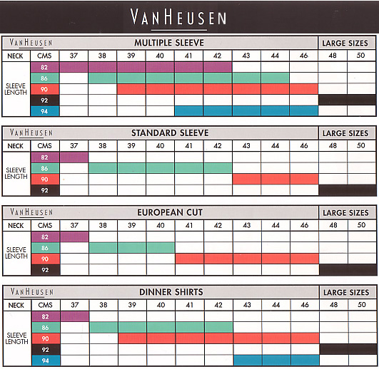 Van Heusen Size Chart | How to Measure Sleeve Length, Shirt