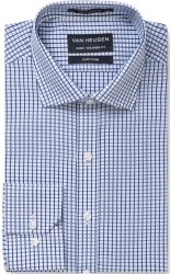 Van Heusen Van Heusen Blue on White Check Euro Fit