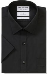 Van Heusen Van Heusen Plain Black Short Sleeve Shirt