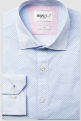 Brooksfield Brooksfield Diamond Print Cotton Stretch Shirt