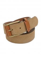 City Club Stamped Suede Leather Belt with Brass Buckle