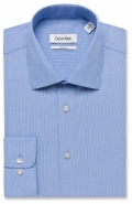 All Cotton Micro Stripe Cuttaway Collar Blue in Slim Fit