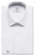 Easy Care Poly/Cotton Plain Poplin White Double Cuff Classic Fit
