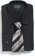 100% Superfine Cotton Easy Iron Double Cuff in Black Classic Fit