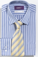 <p>Silky Handle Poly/Cotton Easy Care in Blue or Charcoal Contempoary Fit</p>