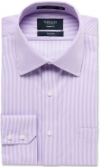 <p>Easy Care Cotton Rich Yarn Dyed Twill Stripe in Mauve European Fit</p>