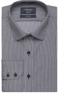 <p>Yarn Dyed Black Stripe 55% Cotton 45% Poly European Fit</p>