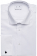 All Cotton French Cuffs Dobby Weave White in Slim Fit