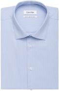 All Cotton Easy Iron Herringbone Stripe in Blue Slim Fit