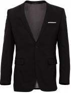 Stretch Wool Blend Suit Jacket Colour Black in a Slim Fit