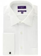 <p>100% Superfine 2 Ply Cotton Satin Stripe Double Cuff White City Fit</p>