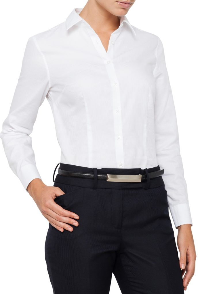 womens white business shirt